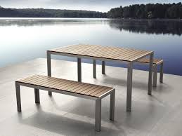 Metal Garden Table And Chairs Uk Garden Dining Furniture Poly Wood Table And Benches Nardo Brown