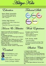 Penn State Resume Graphic Resume And Adobe Illustrator Art003 Blog