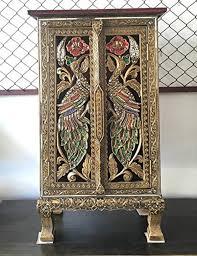 thai antique handmade furniture bird gold and glass storage