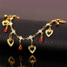 gold ankle bracelet with hearts images 18k real gold plated anklet bracelet with hearts jpg
