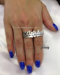 two finger name ring silver or gold plated two finger name ring by