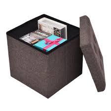 costway folding storage cube ottoman seat stool box footrest