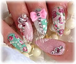 shabby chic pink teal roses nail art my nail art pinterest