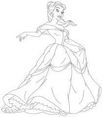 disney princess belle gown coloring sheet coloring point