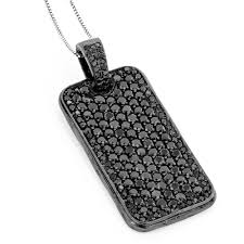 necklace with black diamonds images Black diamond dog tag pendant 7 15ct sterling silver jpg