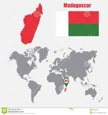 Madagascar Map Madagascar Map On A World Map With Flag And Map Pointer Vector