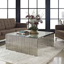 modway small gridiron stainless steel coffee table with tempered
