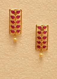 golden earrings brinda golden earrings with pearls and pink tiny