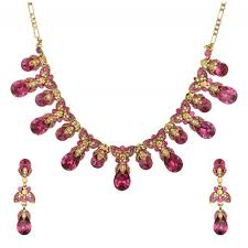 crystals fashion necklace images Fuchsia gold austrian crystal wedding necklace set with earrings jpg