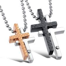 stainless steel latin religious cross couples necklace pendant set