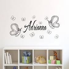 Personalised Home Decor Customized Name Butterflies Wall Stickers Kids Bedroom Diy