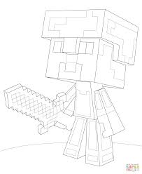 minecraft steve diamond armor coloring page free printable