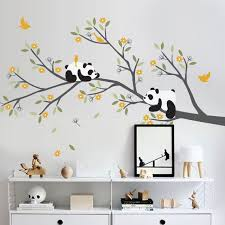 stickers panda chambre bébé pandas branche avec des fleurs pépinière arbre mural par wcookie