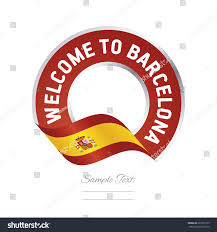 Barcelona Spain Flag Welcome Barcelona Spain Flag Logo Icon Stock Vector 661053139