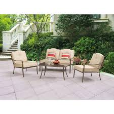Walmart Patio Tables by Mainstays Woodland Hills 4 Piece Chat Set Walmart Com