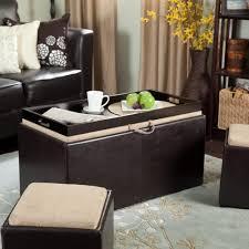 furniture brown leather ottoman coffee table design ideas