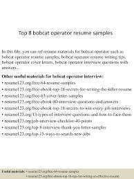 Computer Operator Resume Sample by Top8bobcatoperatorresumesamples 150602134022 Lva1 App6892 Thumbnail 4 Jpg Cb U003d1433252470