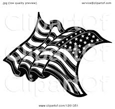 Black And White American Flag Clipart Of A Black And White American Flag Royalty Free Vector