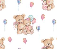 teddy balloons large watercolor stuffed teddy bears gift and balloons on white