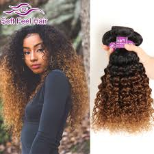 Blonde Weft Hair Extensions by Ombre Brazilian Curly Virgin Hair 3 Bundles T1b 30 Dark