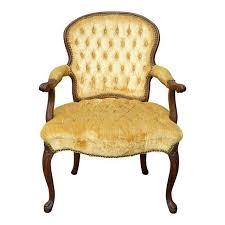 Velvet Accent Chair Vintage Provincial Tufted Gold Velvet Accent Chair Chairish