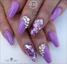 luminous nails stunning mauve acrylic nails with bling