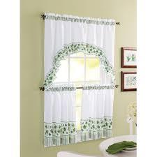 Kitchen  Awesome Kitchen Window Curtain Ideas With Dark Green - Simple kitchen curtains