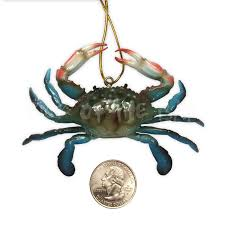 blue crab ornaments approx 3 3 4 w