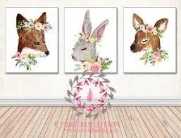 Bunny Nursery Decor Lot 3 Bunny Rabbit Fox Deer Woodland Boho Nursery Decor Baby