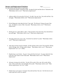 distance and displacement worksheet with answers worksheets