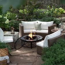 Curved Patio Furniture Set - coral coast albena sofa sectional 40 in fire pit chat set hayneedle