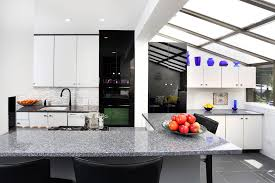 Black And White Contemporary Kitchen - white modern kitchen cabinets kitchen contemporary with black and