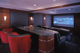 home interior lighting design ideas zebra motif brown leather lounge chair finished basement theater