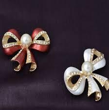 new fashion trendy ornaments bowknot brooches rhinestone simulated