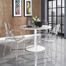 clear acrylic furniture and white round one leg table over glowssy porcelain floor also two sweet