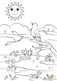 spring scene coloring page free printable coloring pages