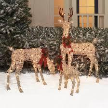 lighted deer family outdoor decor garden yard