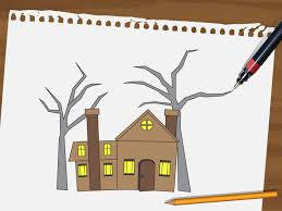 How To Draw A Flag How To Draw A Haunted House 15 Steps With Pictures Wikihow