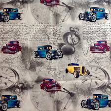 Upholstery Fabric Cars Travel U0026 Map Print Upholstery Fabric Vintage Cars Home Decor