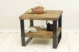 Wood Side Table Reclaimed Wood Side Table 2 Level Coffee Table Plank Coffee