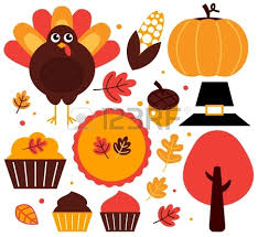 thanksgiving items set vector illustration royalty free cliparts