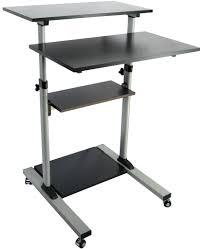 Movable Computer Desk Sightly Rectangle Black Iron Mobile Computer Desk Transparent