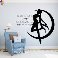 online get cheap sailing quotes aliexpress com alibaba group cartoon japanese sail moon wall sticker baby nursery mango anime girl people who care quote wall