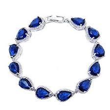 silver bracelet with stones images Selovo sapphire color dark navy blue stone teardrop jpg