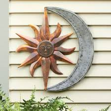 brushed stainless steel wall garden ornaments metal sun and
