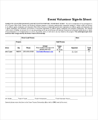 One Sheet Template Volunteer Sign In Sheet Templates 10 Free Pdf Documents