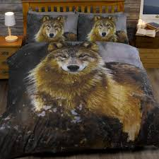 animal print twilight wolf husky dog quilt duvet cover bedding set