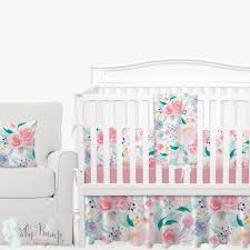 Bright Crib Bedding And Beautiful Watercolor Floral Baby Crib Bedding