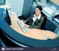 Global Reception Desk Indoors Office Reception Desk Woman Young Girl 20 25 Brunette
