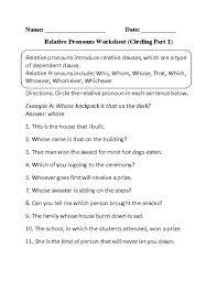 circling relative pronouns worksheet part 1 beginner grammar